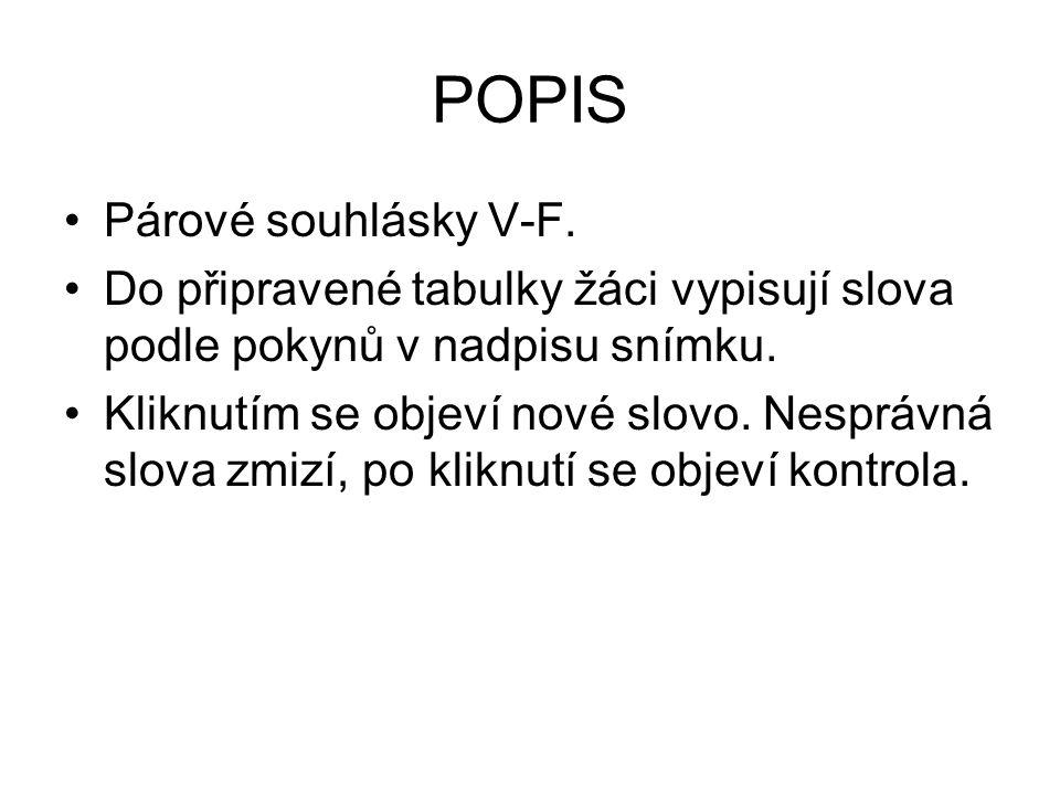 POPIS Párové souhlásky V-F.