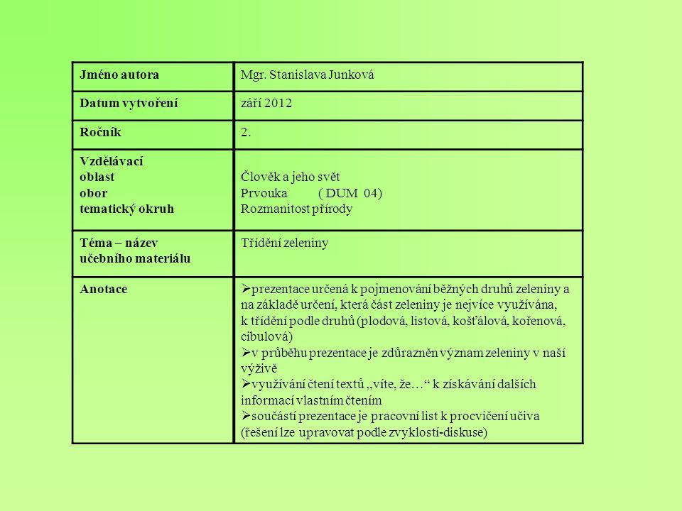 Jméno autoraMgr. Stanislava Junková Datum vytvořenízáří 2012 Ročník2. Vzdělávací oblast obor tematický okruh Člověk a jeho svět Prvouka ( DUM 04) Rozm