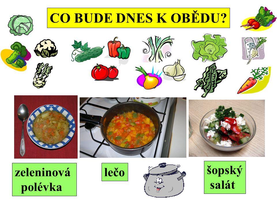 CO BUDE DNES K OBĚDU zeleninová polévka lečo šopský salát