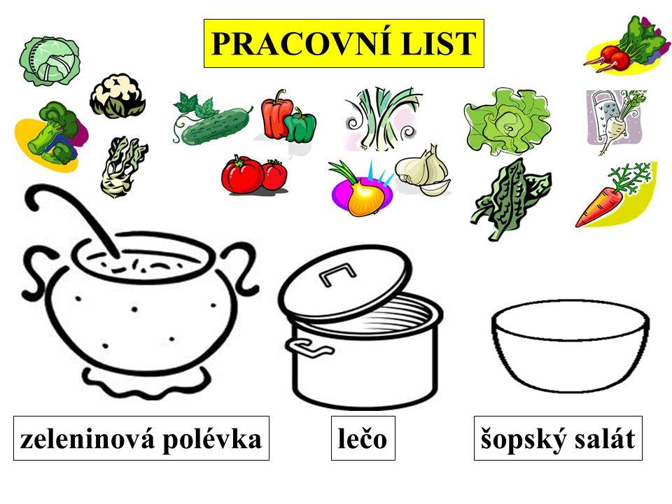 PRACOVNÍ LIST zeleninová polévkalečošopský salát