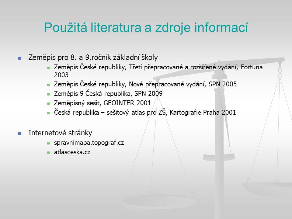 Použitá literatura a zdroje informací Zeměpis pro 8.