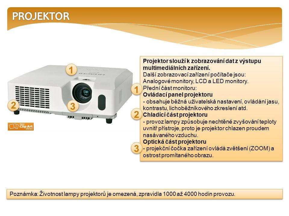 Projektor slouží k zobrazování dat z výstupu multimediálních zařízení.