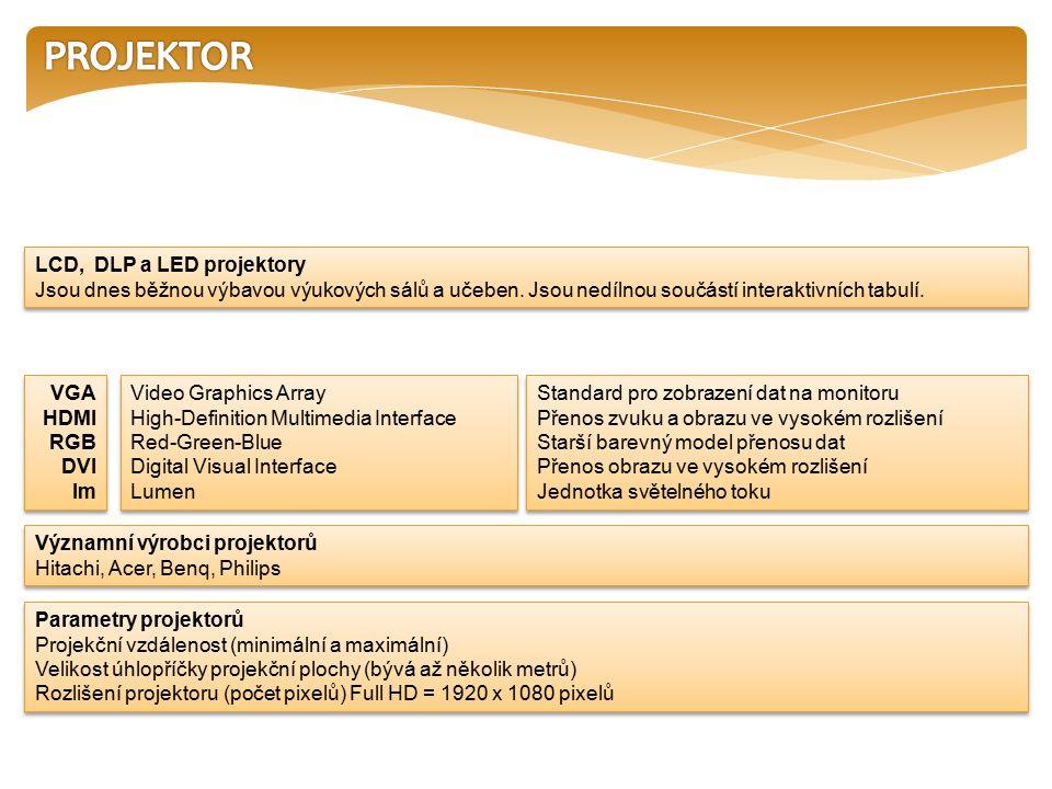 LCD, DLP a LED projektory Jsou dnes běžnou výbavou výukových sálů a učeben.