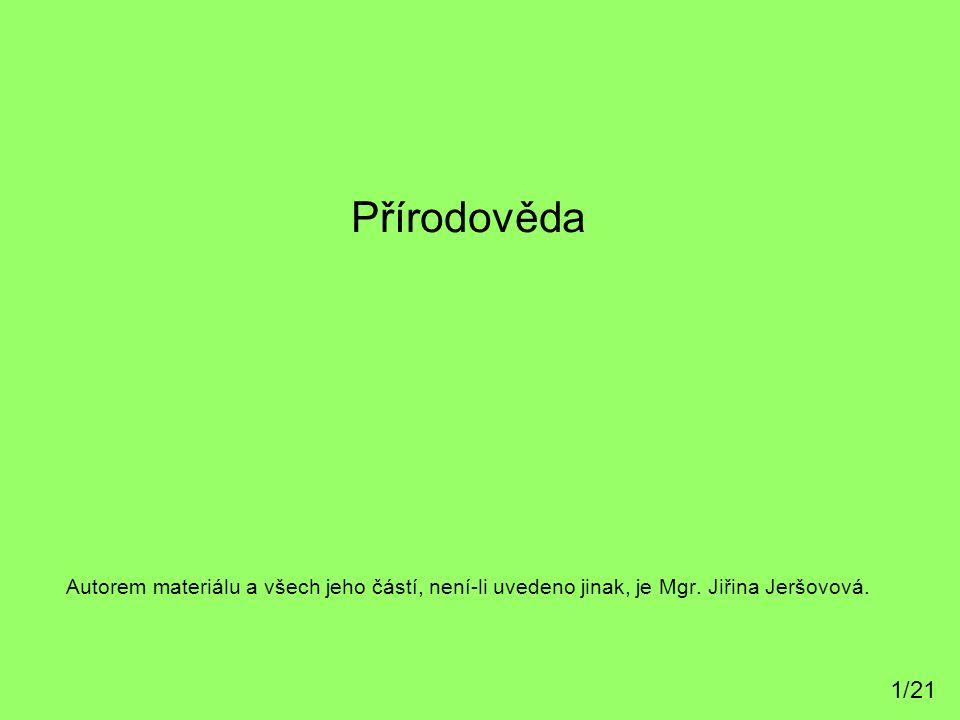 Autorem materiálu a všech jeho částí, není-li uvedeno jinak, je Mgr. Jiřina Jeršovová. Přírodověda 1/21