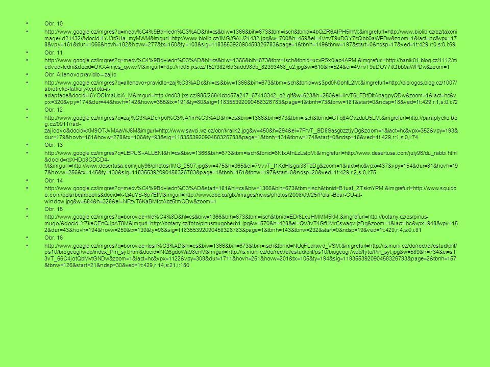 Obr. 10 http://www.google.cz/imgres?q=medv%C4%9Bd+ledn%C3%AD&hl=cs&biw=1366&bih=673&tbm=isch&tbnid=4bQZR6AIPH5lhM:&imgrefurl=http://www.biolib.cz/cz/t