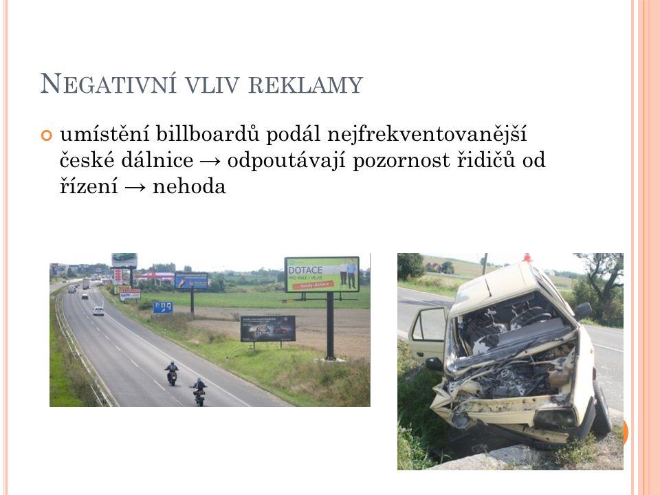 N EGATIVNÍ VLIV REKLAMY umístění billboardů podál nejfrekventovanější české dálnice → odpoutávají pozornost řidičů od řízení → nehoda
