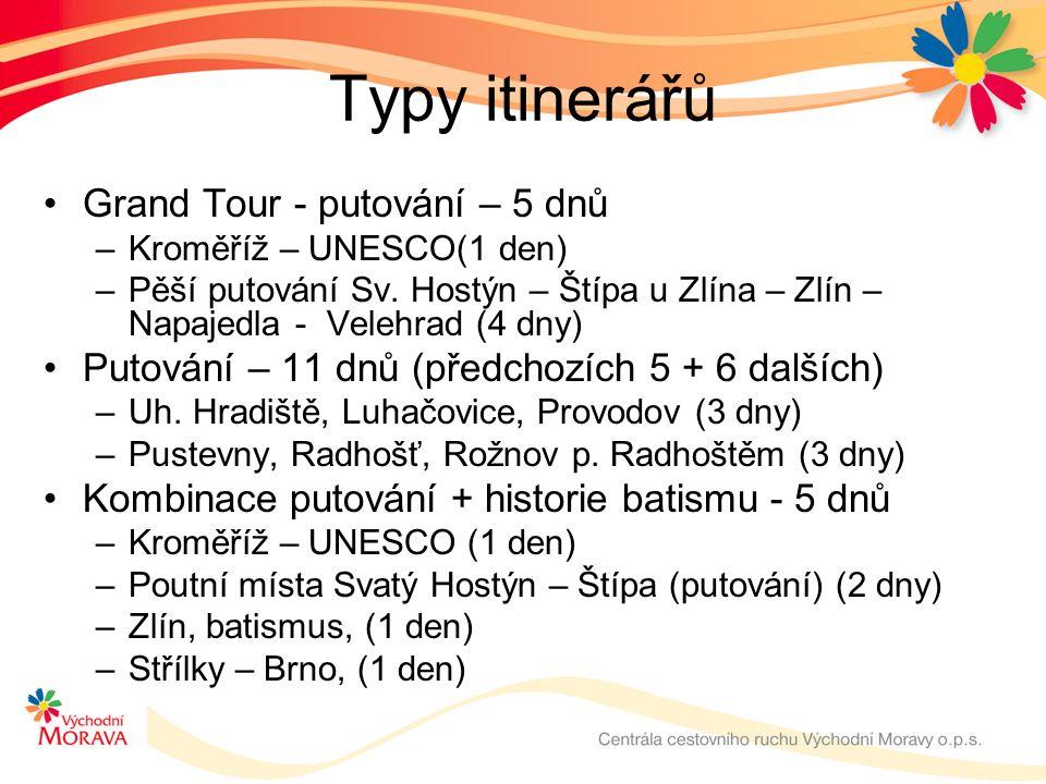 Typy itinerářů Grand Tour - putování – 5 dnů –Kroměříž – UNESCO(1 den) –Pěší putování Sv.