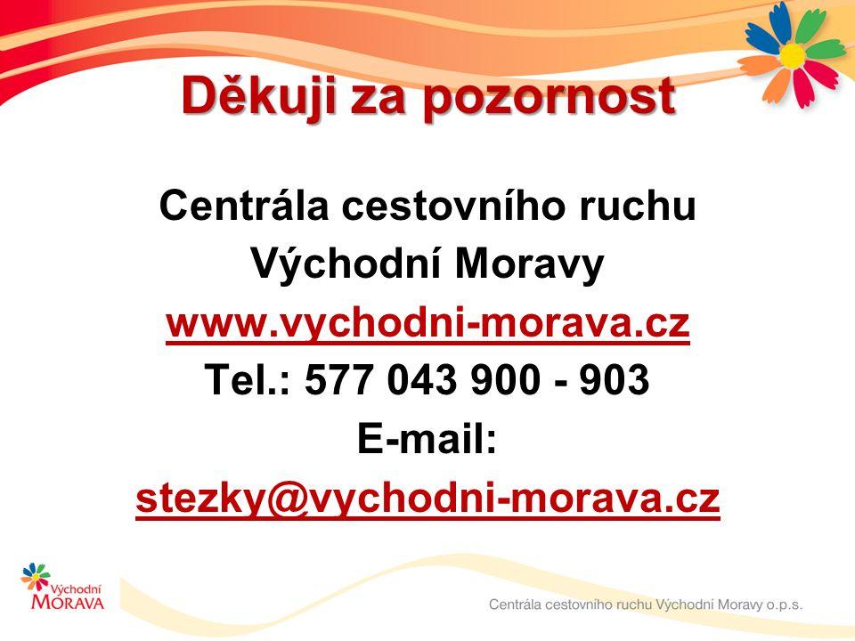 Děkuji za pozornost Centrála cestovního ruchu Východní Moravy www.vychodni-morava.cz Tel.: 577 043 900 - 903 E-mail: stezky@vychodni-morava.cz