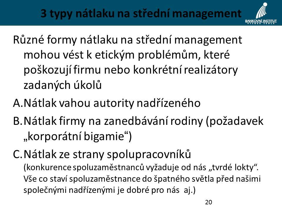 """3 typy nátlaku na střední management Různé formy nátlaku na střední management mohou vést k etickým problémům, které poškozují firmu nebo konkrétní realizátory zadaných úkolů A.Nátlak vahou autority nadřízeného B.Nátlak firmy na zanedbávání rodiny (požadavek """" korporátní bigamie ) C.Nátlak ze strany spolupracovníků (konkurence spoluzaměstnanců vyžaduje od nás """"tvrdé lokty ."""