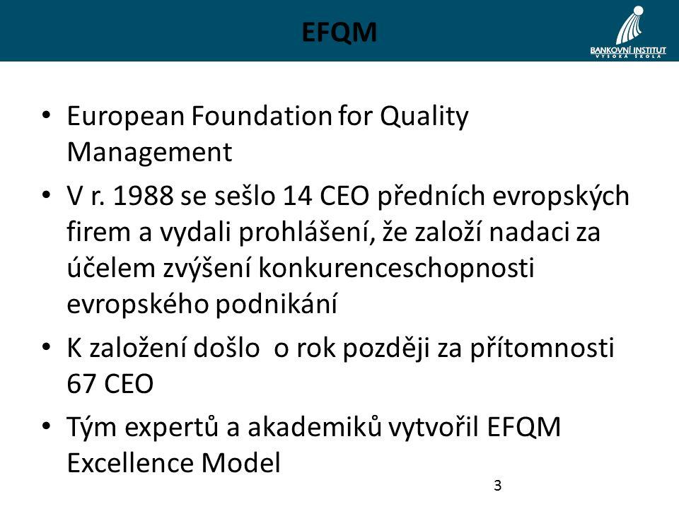 EFQM European Foundation for Quality Management V r. 1988 se sešlo 14 CEO předních evropských firem a vydali prohlášení, že založí nadaci za účelem zv