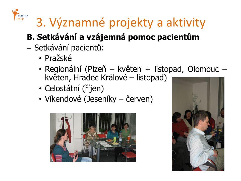 3. Významné projekty a aktivity B. Setkávání a vzájemná pomoc pacientům – Setkávání pacientů: Pražské Regionální (Plzeň – květen + listopad, Olomouc –