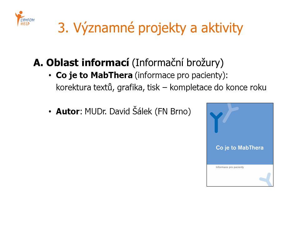 3. Významné projekty a aktivity A. Oblast informací (Informační brožury) Co je to MabThera (informace pro pacienty): korektura textů, grafika, tisk –