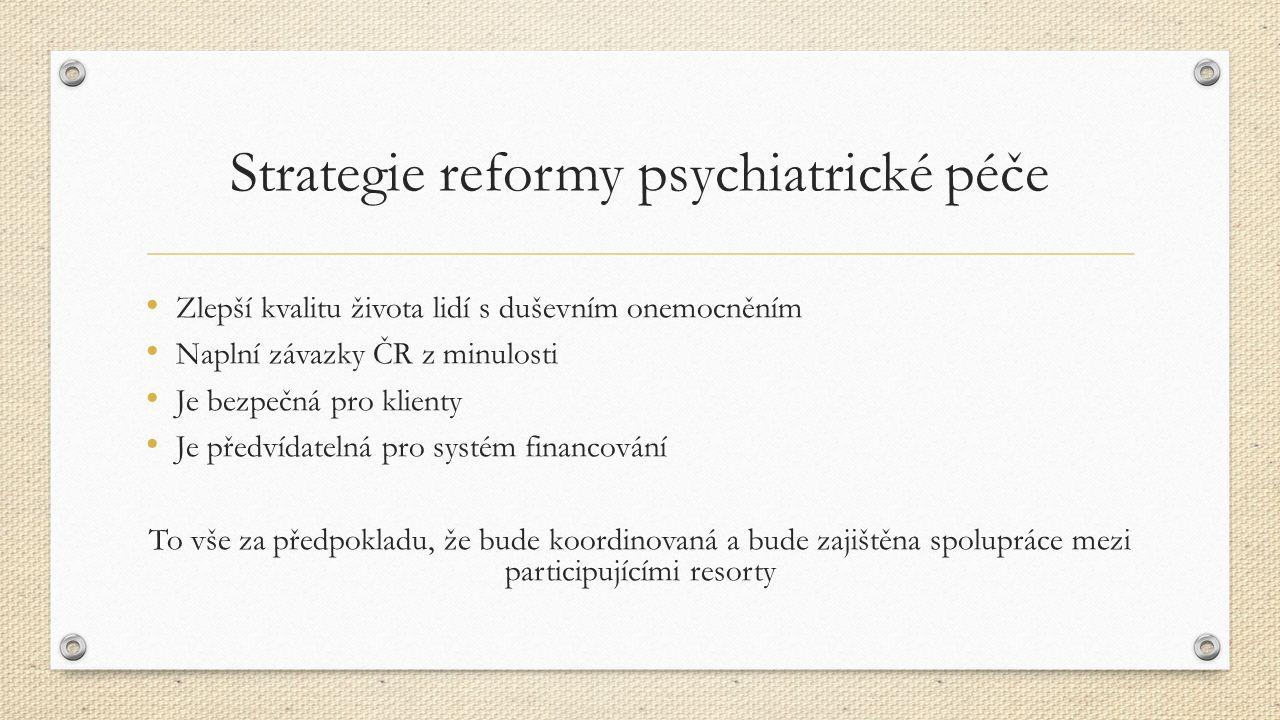 Strategie reformy psychiatrické péče Zlepší kvalitu života lidí s duševním onemocněním Naplní závazky ČR z minulosti Je bezpečná pro klienty Je předvídatelná pro systém financování To vše za předpokladu, že bude koordinovaná a bude zajištěna spolupráce mezi participujícími resorty