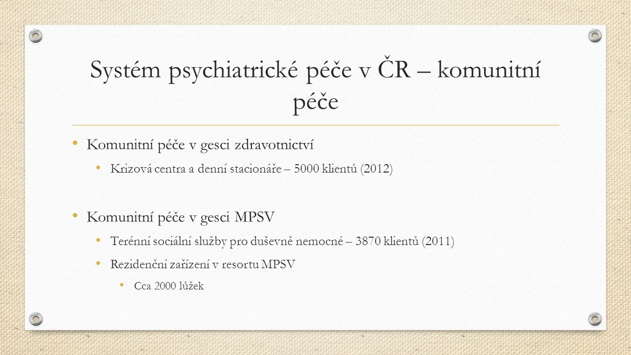 Porovnání počtu lůžek na jednu psychiatrickou instituci v Evropě