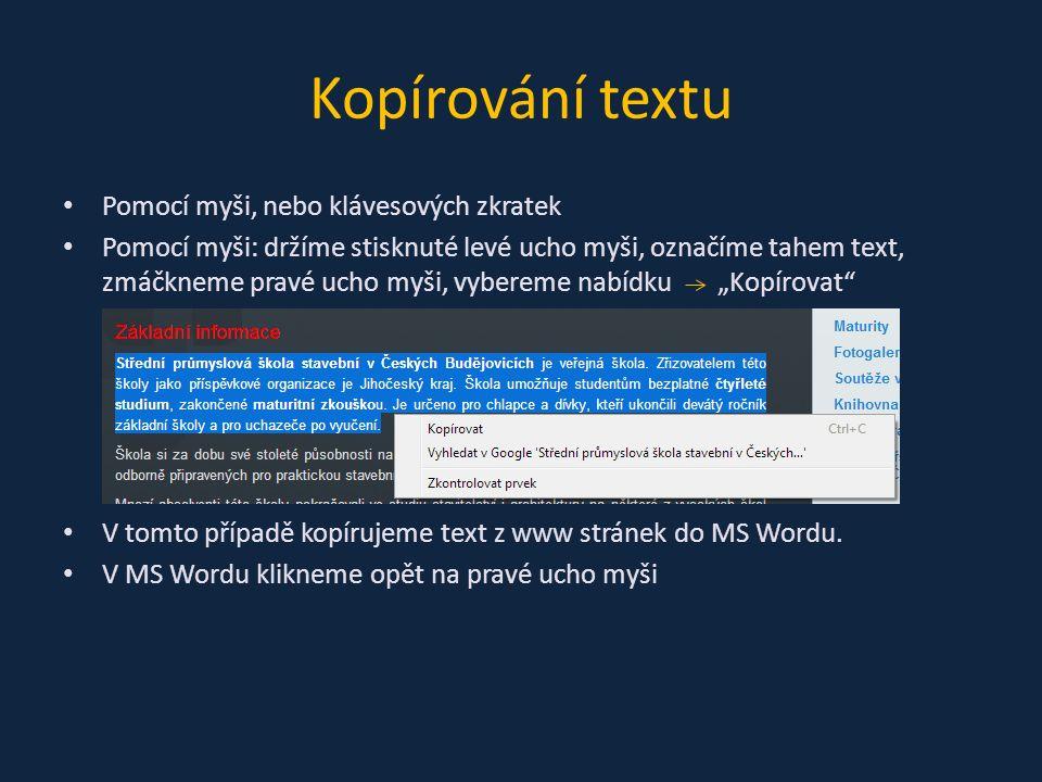 Zobrazí se tato nabídka, kde máme k dispozici aktuální příkazy, které jsou v současné chvíli použitelné Možnosti vložení máme tři: 1)Zachovat zdrojové formátování – zkopíruje naprosto vše (font, velikost, barva písma, barva pozadí, …) 2)Sloučit formátování – změní font a velikost písma dle přednastaveného formátu MS Word, ale zachová řezy písma (tučné, kurzívu, podtržené písmo) 3)Zachovat pouze text –nastaví celému textu přednastavenou velikost, barvu, zarovnání, zruší veškeré ostatní formátování
