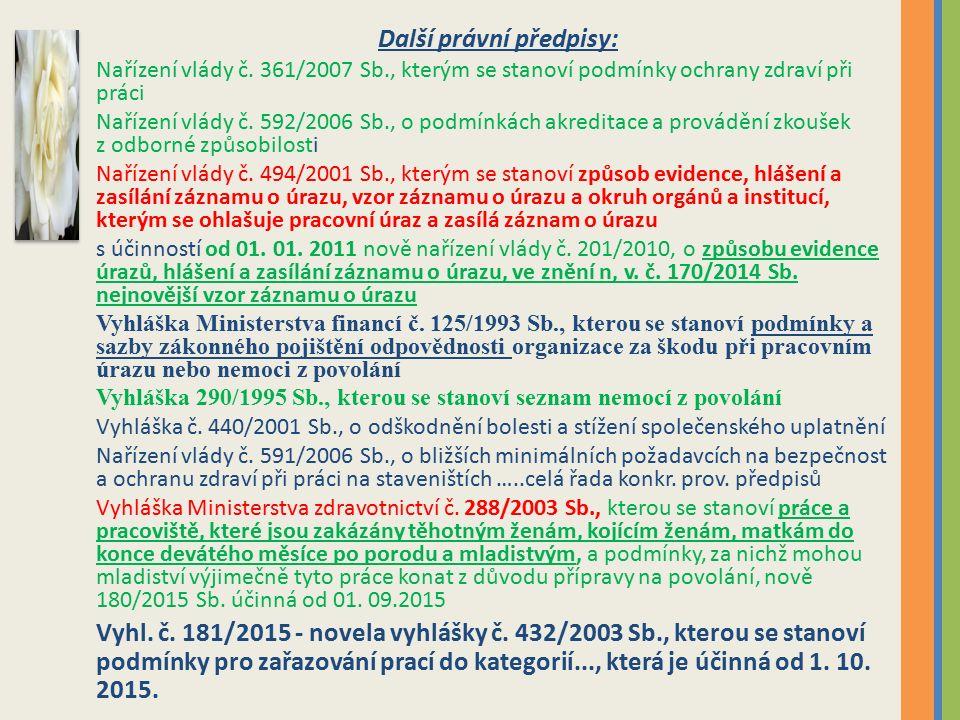 Další právní předpisy: Nařízení vlády č.