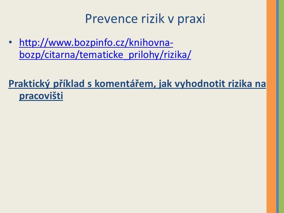 Prevence rizik v praxi http://www.bozpinfo.cz/knihovna- bozp/citarna/tematicke_prilohy/rizika/ http://www.bozpinfo.cz/knihovna- bozp/citarna/tematicke_prilohy/rizika/ Praktický příklad s komentářem, jak vyhodnotit rizika na pracovišti