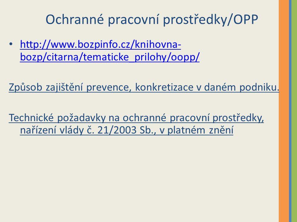Ochranné pracovní prostředky/OPP http://www.bozpinfo.cz/knihovna- bozp/citarna/tematicke_prilohy/oopp/ http://www.bozpinfo.cz/knihovna- bozp/citarna/tematicke_prilohy/oopp/ Způsob zajištění prevence, konkretizace v daném podniku.