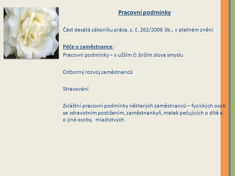 Pracovní podmínky Část desátá zákoníku práce, z. č.