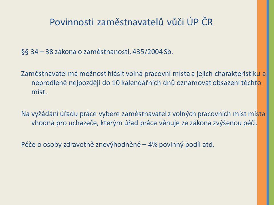 Povinnosti zaměstnavatelů vůči ÚP ČR §§ 34 – 38 zákona o zaměstnanosti, 435/2004 Sb.
