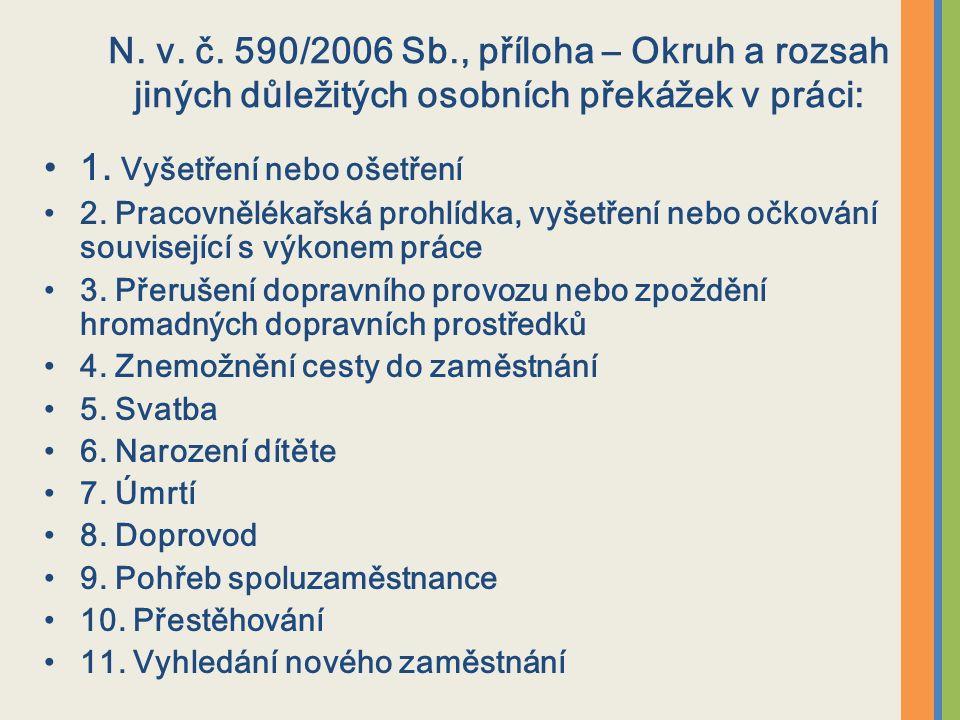 N. v. č. 590/2006 Sb., příloha – Okruh a rozsah jiných důležitých osobních překážek v práci: 1.