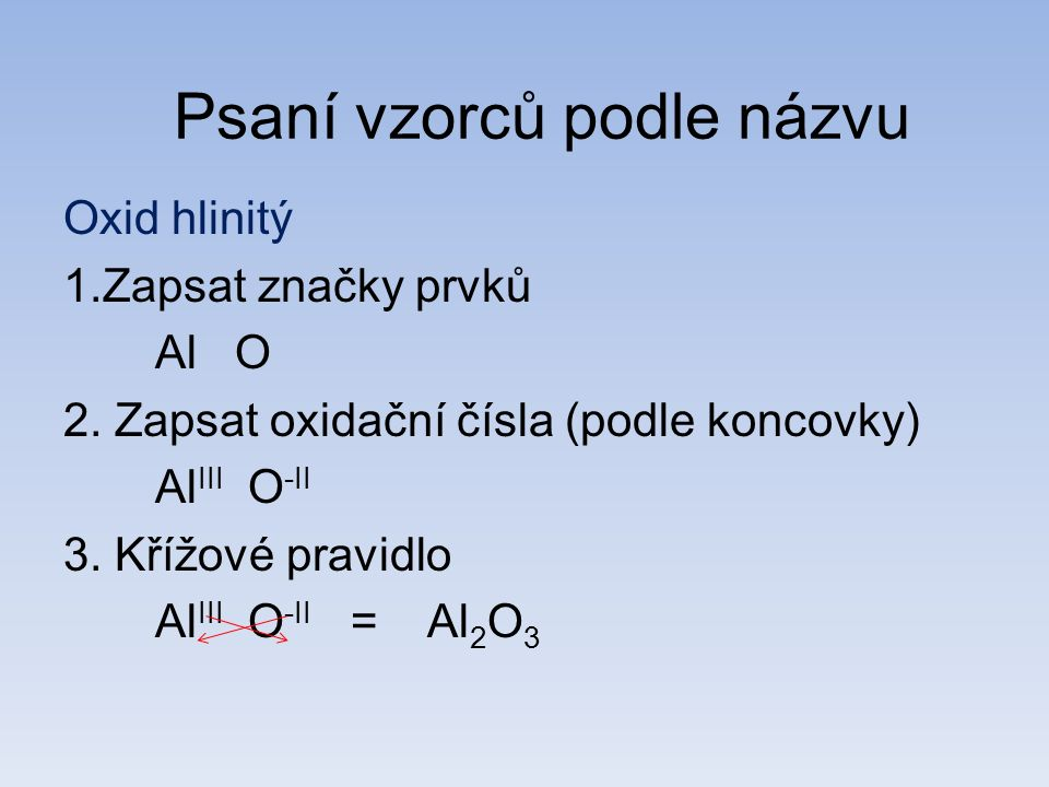 Oxid hlinitý 1.Zapsat značky prvků Al O 2. Zapsat oxidační čísla (podle koncovky) Al III O -II 3.