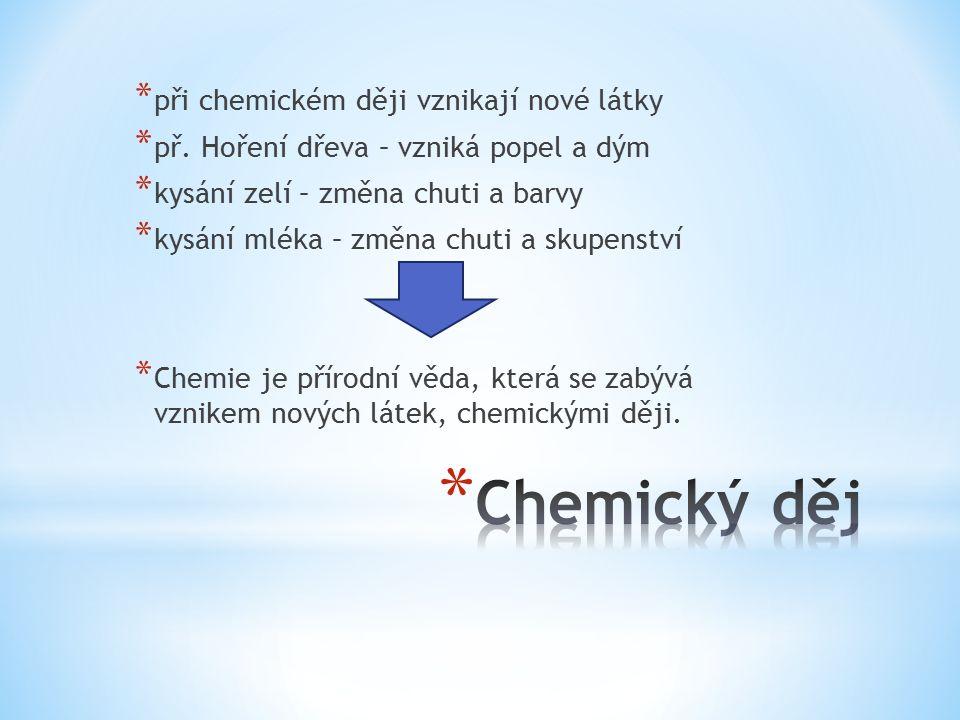 * při chemickém ději vznikají nové látky * př. Hoření dřeva – vzniká popel a dým * kysání zelí – změna chuti a barvy * kysání mléka – změna chuti a sk