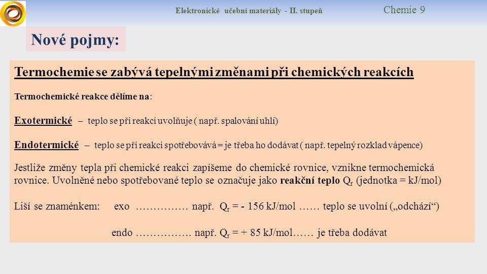 Elektronické učební materiály - II. stupeň Chemie 9 Nové pojmy: Termochemie se zabývá tepelnými změnami při chemických reakcích Termochemické reakce d
