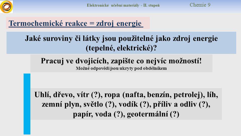 Elektronické učební materiály - II. stupeň Chemie 9 Termochemické reakce = zdroj energie Jaké suroviny či látky jsou použitelné jako zdroj energie (te