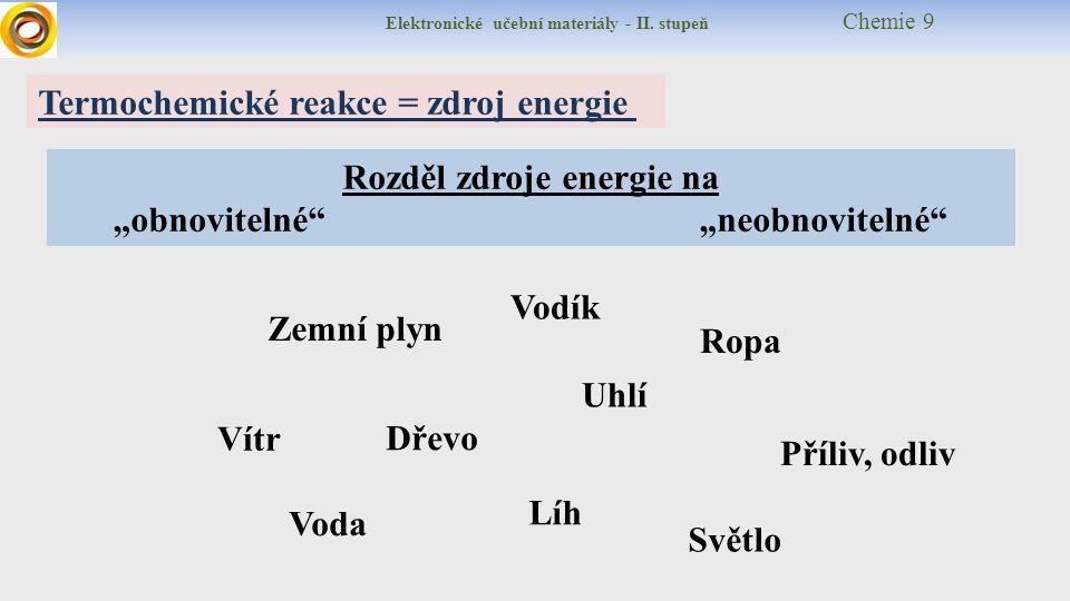 """Elektronické učební materiály - II. stupeň Chemie 9 Rozděl zdroje energie na """"obnovitelné"""" """"neobnovitelné"""" Termochemické reakce = zdroj energie Uhlí D"""