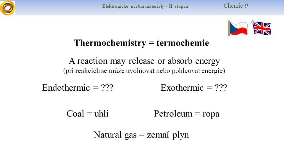 Elektronické učební materiály - II. stupeň Chemie 9 A reaction may release or absorb energy (při reakcích se může uvolňovat nebo pohlcovat energie) Th
