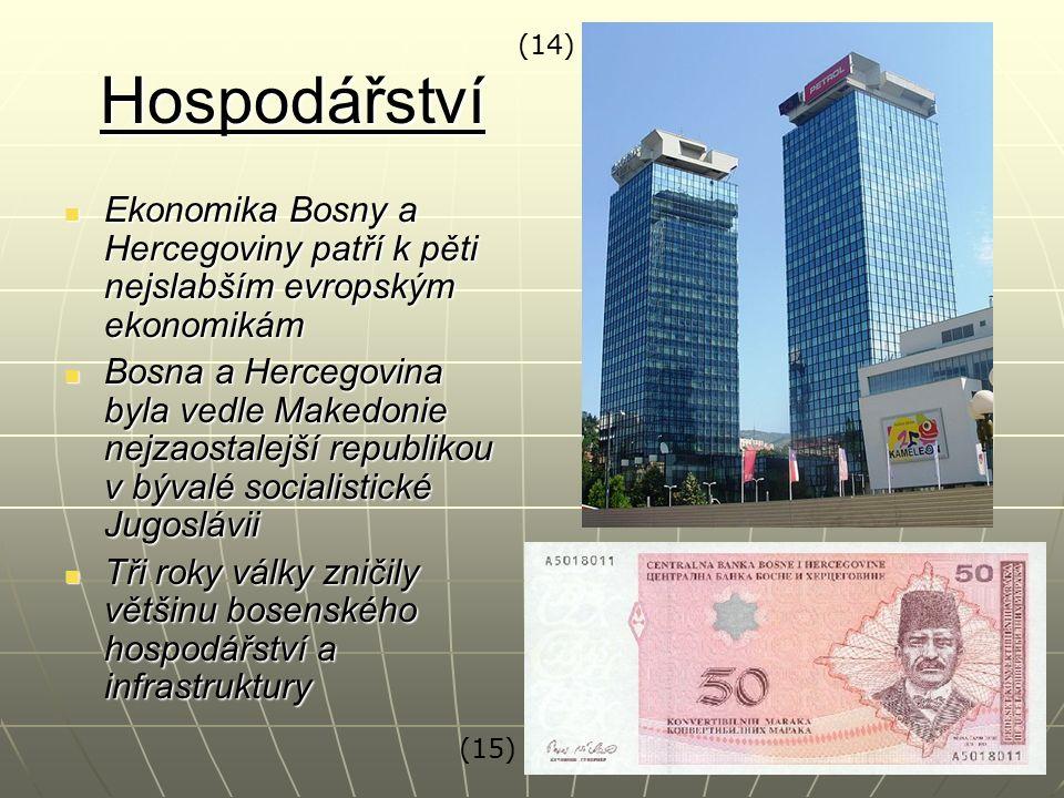 Hospodářství Ekonomika Bosny a Hercegoviny patří k pěti nejslabším evropským ekonomikám Ekonomika Bosny a Hercegoviny patří k pěti nejslabším evropský
