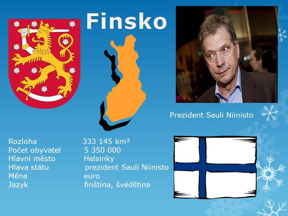 Rozloha 333 145 km² Počet obyvatel 5 350 000 Hlavní město Helsinky Hlava státu prezident Sauli Niinisto Měna euro Jazyk finština, švédština Prezident