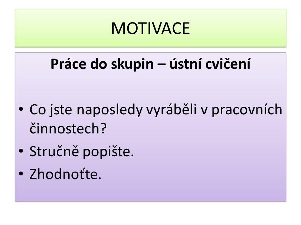 MOTIVACE Práce do skupin – ústní cvičení Co jste naposledy vyráběli v pracovních činnostech.