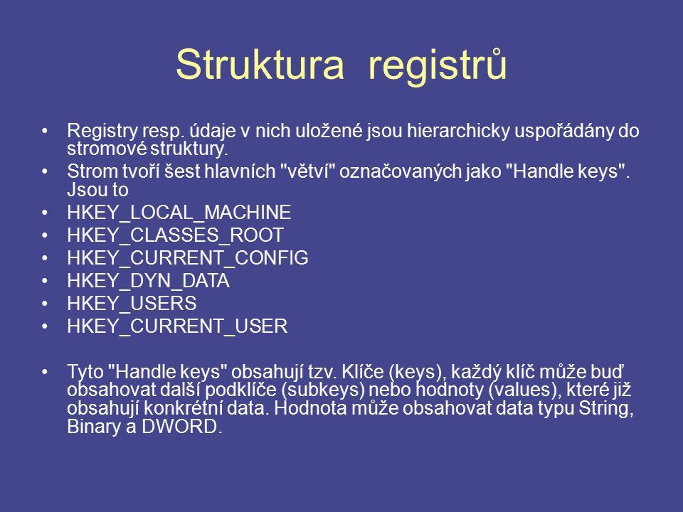 Struktura registrů Registry resp. údaje v nich uložené jsou hierarchicky uspořádány do stromové struktury. Strom tvoří šest hlavních