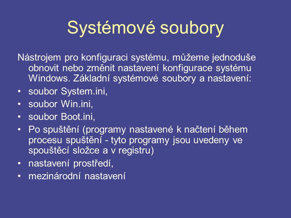 Systémové soubory Nástrojem pro konfiguraci systému, můžeme jednoduše obnovit nebo změnit nastavení konfigurace systému Windows. Základní systémové so