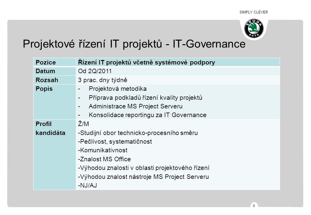 SIMPLY CLEVER 9 Projektové řízení IT projektů - IT-Governance PoziceŘízení IT projektů včetně systémové podpory DatumOd 2Q/2011 Rozsah3 prac.