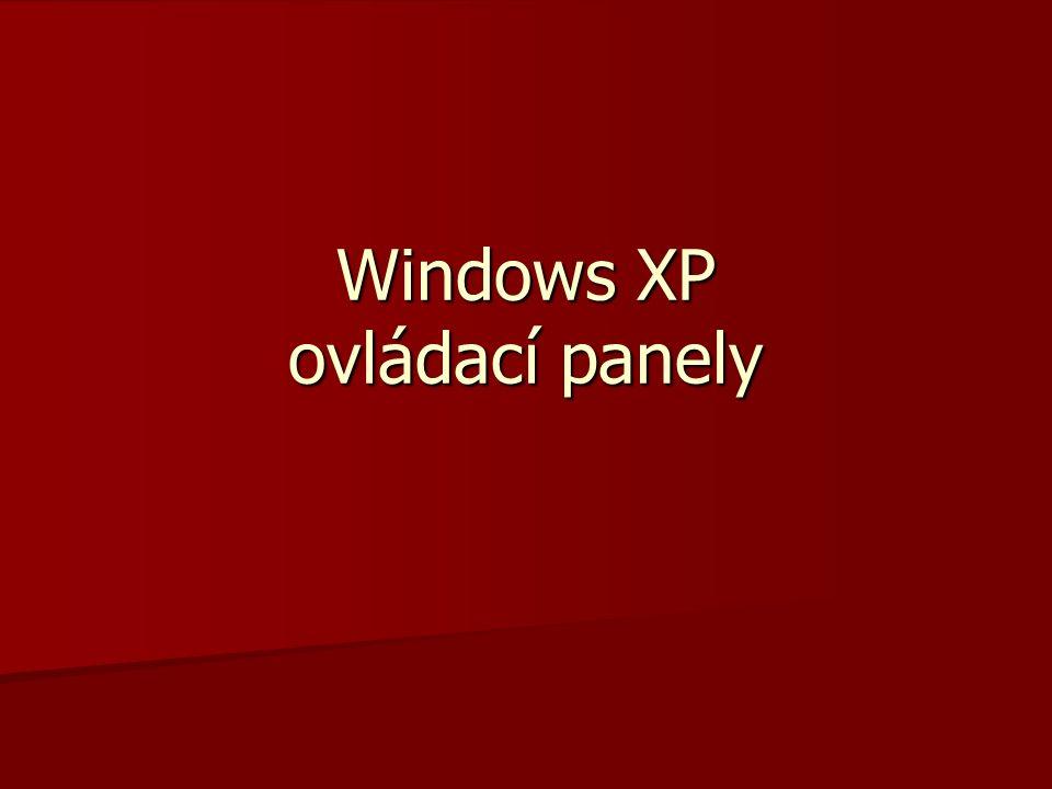 Windows XP ovládací panely