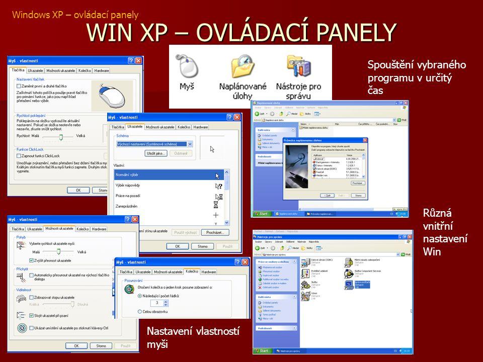 WIN XP – OVLÁDACÍ PANELY Windows XP – ovládací panely Nastavení vlastností myši Spouštění vybraného programu v určitý čas Různá vnitřní nastavení Win
