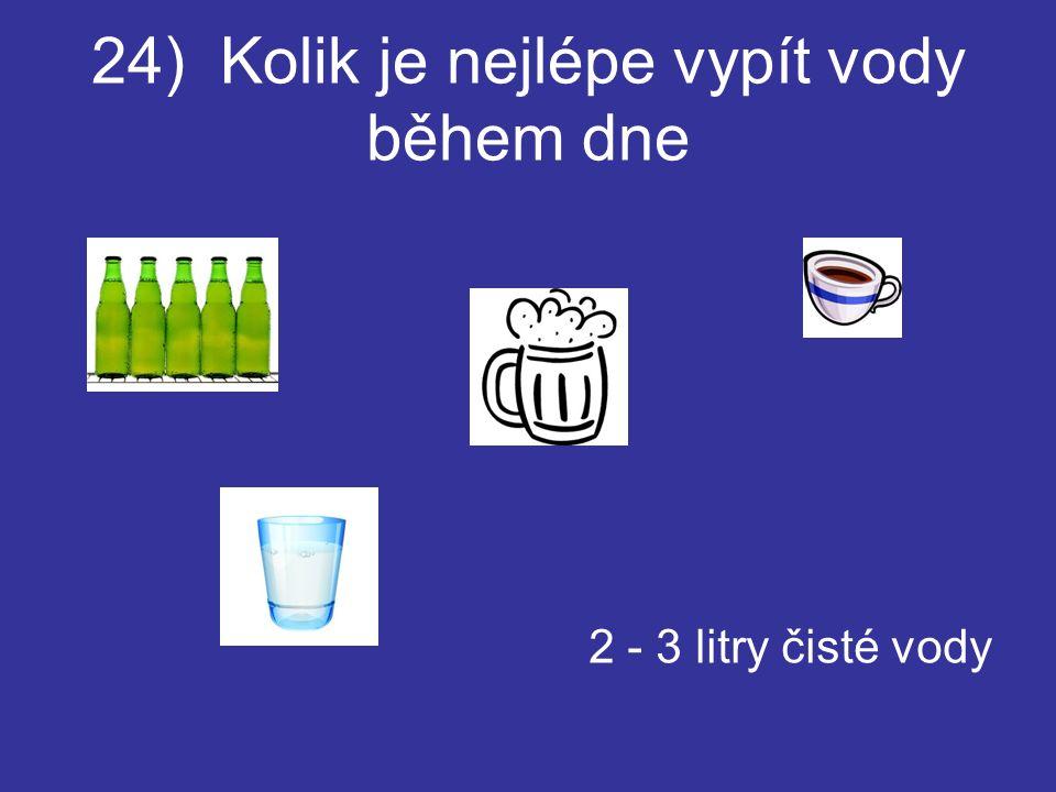 24) Kolik je nejlépe vypít vody během dne 2 - 3 litry čisté vody