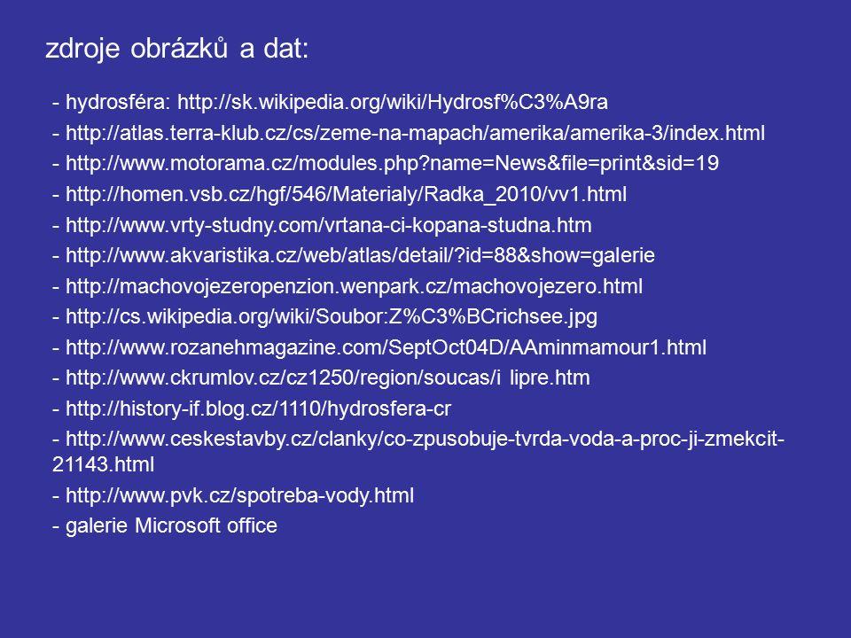 zdroje obrázků a dat: - hydrosféra: http://sk.wikipedia.org/wiki/Hydrosf%C3%A9ra - http://atlas.terra-klub.cz/cs/zeme-na-mapach/amerika/amerika-3/index.html - http://www.motorama.cz/modules.php?name=News&file=print&sid=19 - http://homen.vsb.cz/hgf/546/Materialy/Radka_2010/vv1.html - http://www.vrty-studny.com/vrtana-ci-kopana-studna.htm - http://www.akvaristika.cz/web/atlas/detail/?id=88&show=galerie - http://machovojezeropenzion.wenpark.cz/machovojezero.html - http://cs.wikipedia.org/wiki/Soubor:Z%C3%BCrichsee.jpg - http://www.rozanehmagazine.com/SeptOct04D/AAminmamour1.html - http://www.ckrumlov.cz/cz1250/region/soucas/i lipre.htm - http://history-if.blog.cz/1110/hydrosfera-cr - http://www.ceskestavby.cz/clanky/co-zpusobuje-tvrda-voda-a-proc-ji-zmekcit- 21143.html - http://www.pvk.cz/spotreba-vody.html - galerie Microsoft office
