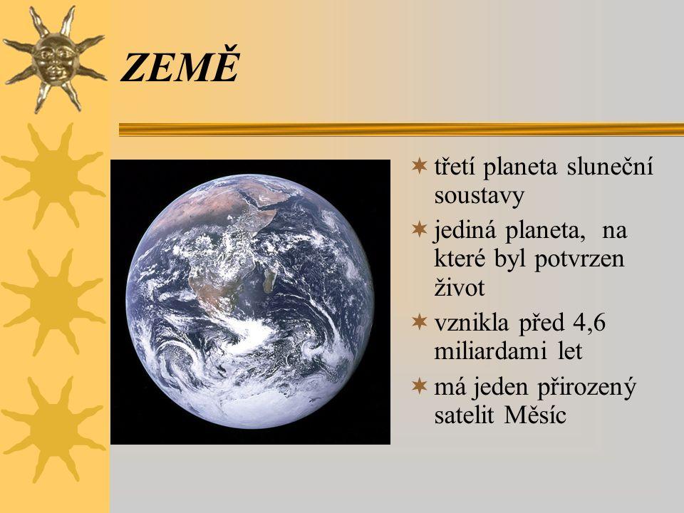 ZEMĚ  třetí planeta sluneční soustavy  jediná planeta, na které byl potvrzen život  vznikla před 4,6 miliardami let  má jeden přirozený satelit Mě
