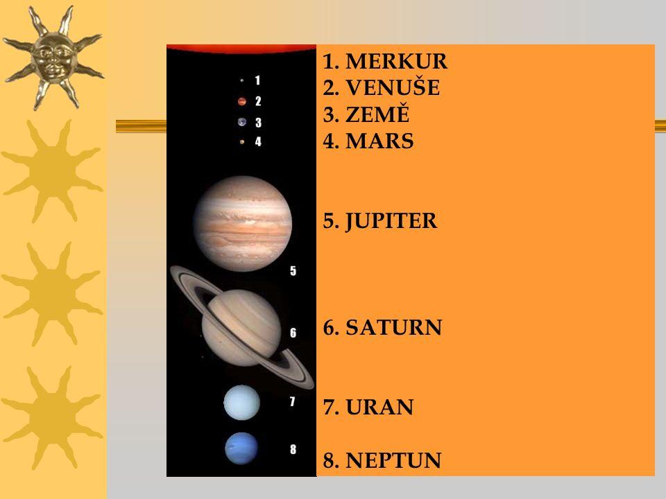 1. MERKUR 2. VENUŠE 3. ZEMĚ 4. MARS 5. JUPITER 6. SATURN 7. URAN 8. NEPTUN