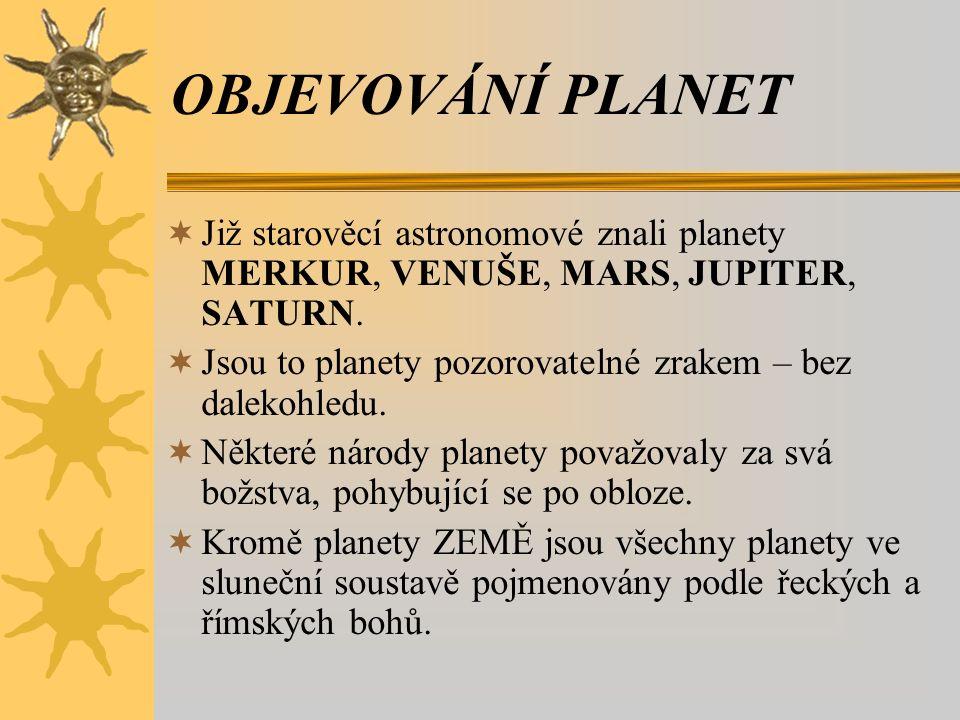 OBJEVOVÁNÍ PLANET  Již starověcí astronomové znali planety MERKUR, VENUŠE, MARS, JUPITER, SATURN.  Jsou to planety pozorovatelné zrakem – bez daleko