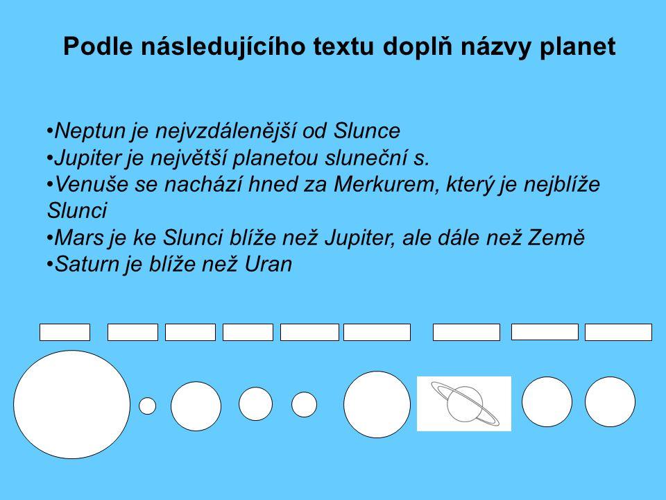 Podle následujícího textu doplň názvy planet Neptun je nejvzdálenější od Slunce Jupiter je největší planetou sluneční s. Venuše se nachází hned za Mer
