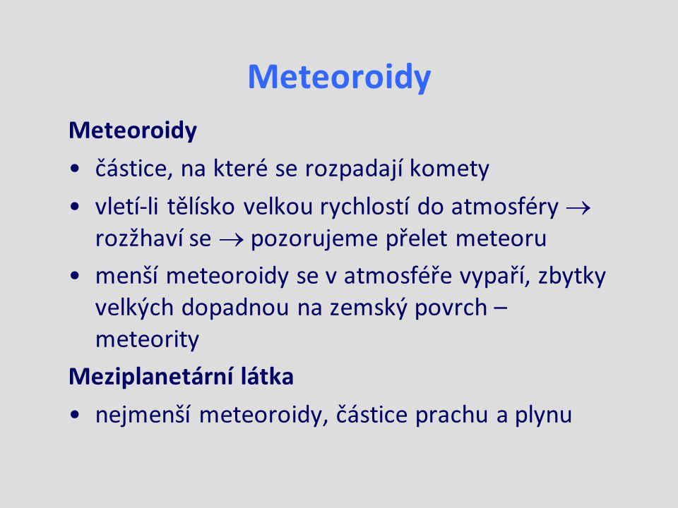 Meteoroidy částice, na které se rozpadají komety vletí-li tělísko velkou rychlostí do atmosféry  rozžhaví se  pozorujeme přelet meteoru menší meteoroidy se v atmosféře vypaří, zbytky velkých dopadnou na zemský povrch – meteority Meziplanetární látka nejmenší meteoroidy, částice prachu a plynu