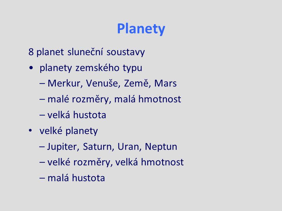 Planety 8 planet sluneční soustavy planety zemského typu – Merkur, Venuše, Země, Mars – malé rozměry, malá hmotnost – velká hustota velké planety – Jupiter, Saturn, Uran, Neptun – velké rozměry, velká hmotnost – malá hustota