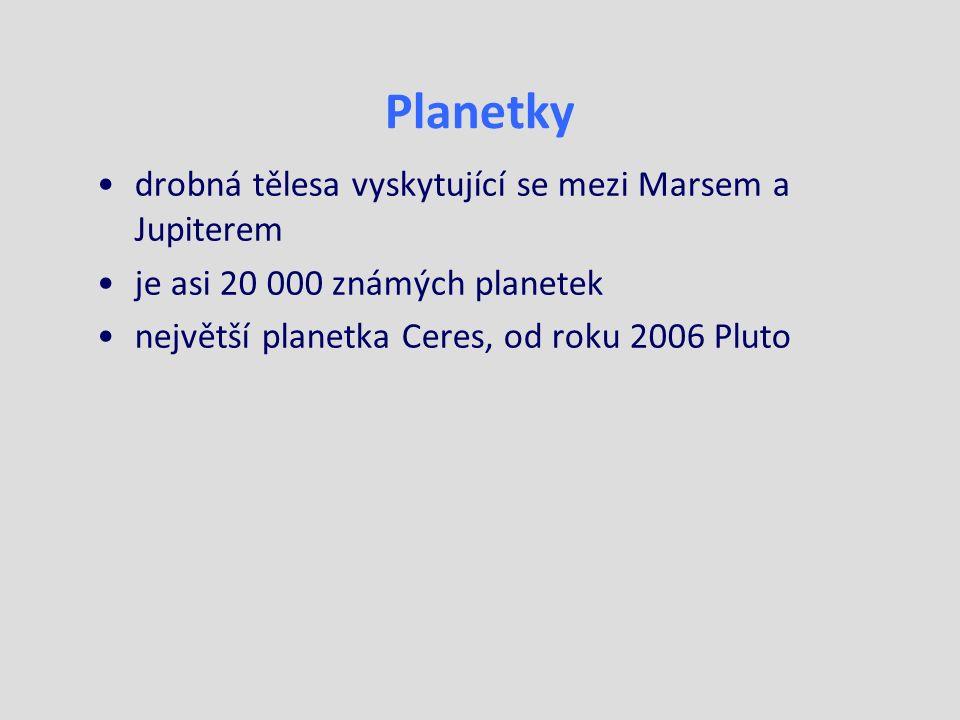 Planetky drobná tělesa vyskytující se mezi Marsem a Jupiterem je asi 20 000 známých planetek největší planetka Ceres, od roku 2006 Pluto