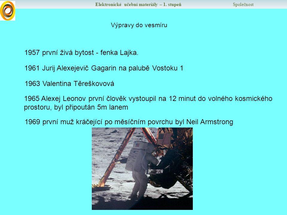 Elektronické učební materiály – 1. stupeň Společnost Výpravy do vesmíru 1957 první živá bytost - fenka Lajka. 1961 Jurij Alexejevič Gagarin na palubě
