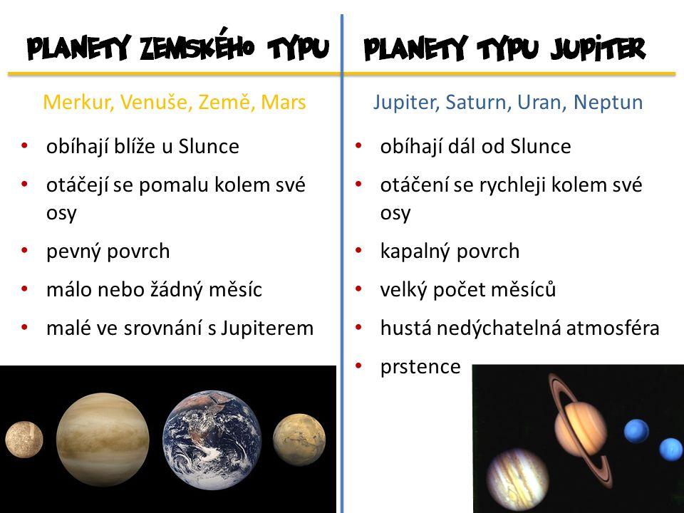 Merkur, Venuše, Země, Mars obíhají blíže u Slunce otáčejí se pomalu kolem své osy pevný povrch málo nebo žádný měsíc malé ve srovnání s Jupiterem Jupiter, Saturn, Uran, Neptun obíhají dál od Slunce otáčení se rychleji kolem své osy kapalný povrch velký počet měsíců hustá nedýchatelná atmosféra prstence